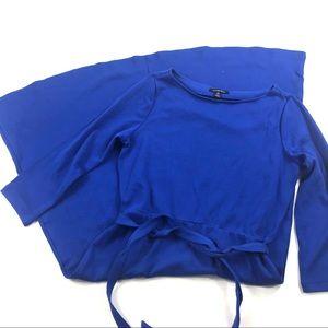Lands End Fit & Flare Blue Cotton Dress Sz M 10/12